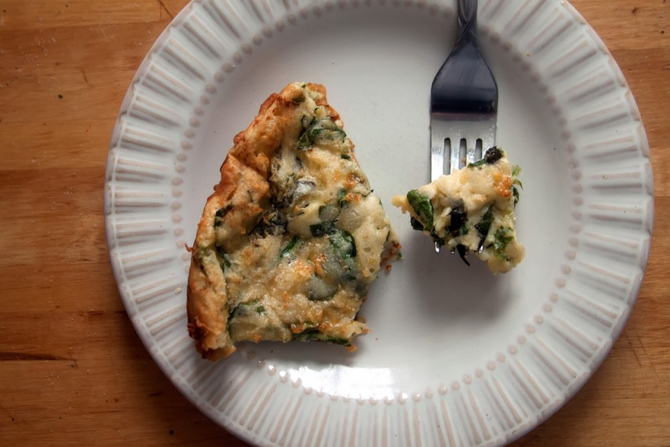 Cheesy Savory Spinach and Basil Dutch Baby - Sweet and Savoring