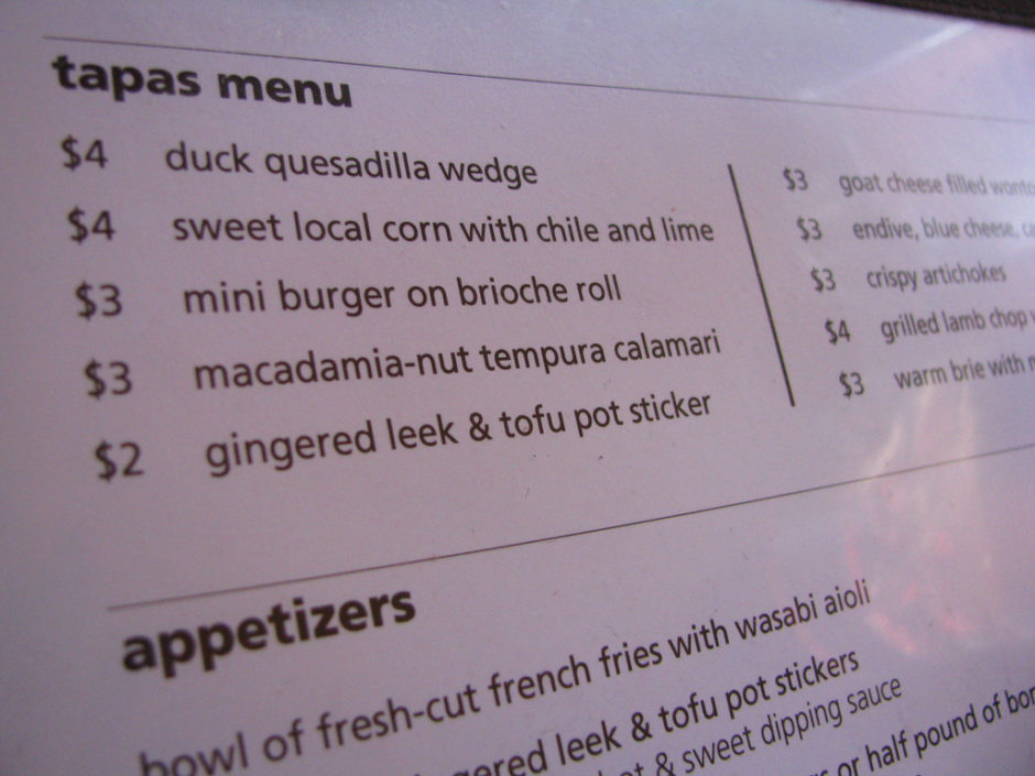 It's fun to order only from the tapas menu- I love the crispy artichokes and goat cheese wontons!