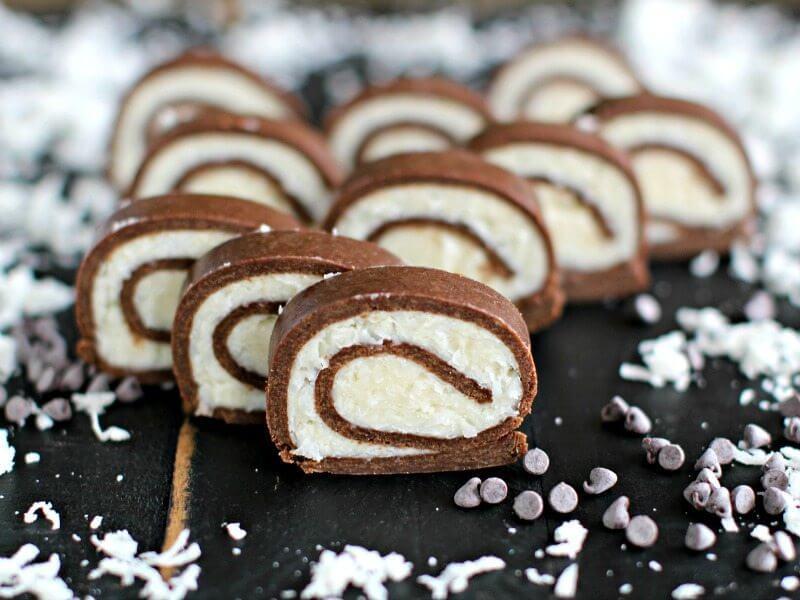 No Bake Almond Joy Roll