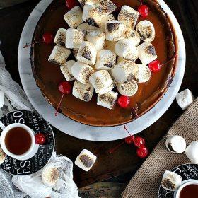 Marshmallow Chocolate Caramel Cheesecake