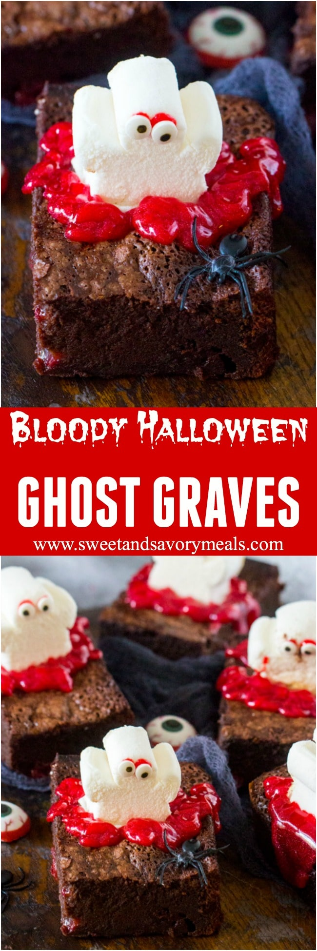 Bloody Halloween Desserts like these Brownie Ghost Graves, are a fun and easy way to take your Halloween treats to a new scary, delicious and fun level!