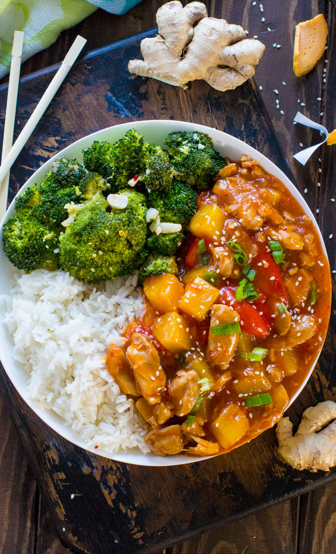 Instant Pot Sweet and Sour Chicken is made with sweet pineapple and bell pepper and it tastes a hundred times better than takeout!