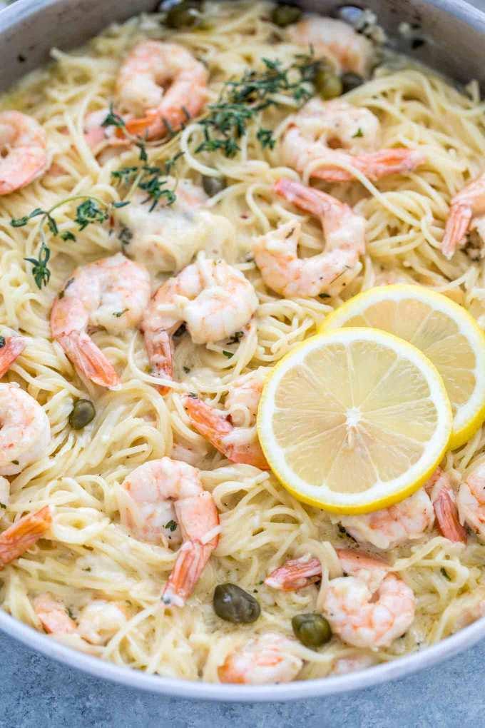 Garlic Parmesan Shrimp Pasta made in 30 minutes