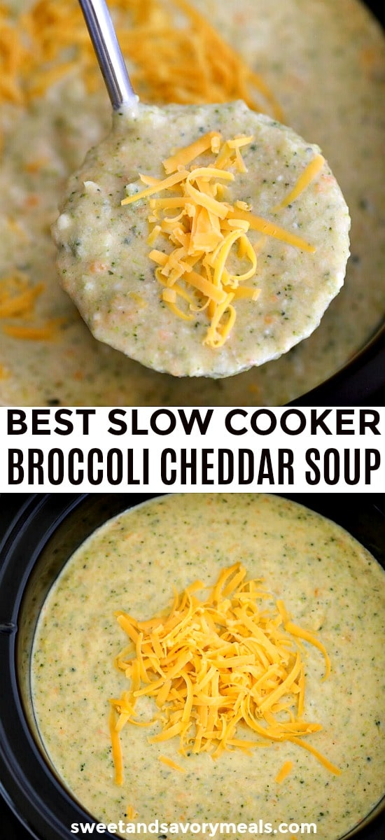 Homemade Slow Cooker Broccoli Cheddar Soup