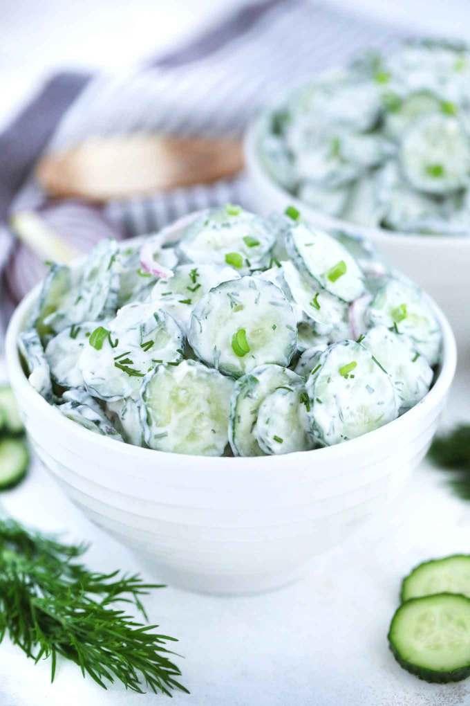 Easy Creamy Cucumber Salad Recipe