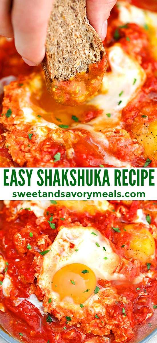 Shakshuka is a festive dish that has eggs on a bed of tomatoes! If you are bored with the usual egg recipes, then, try this quick and easy recipe! #shakshuka #breakfast #eggrecipes #healthyrecipes #sweetandsavorymeals