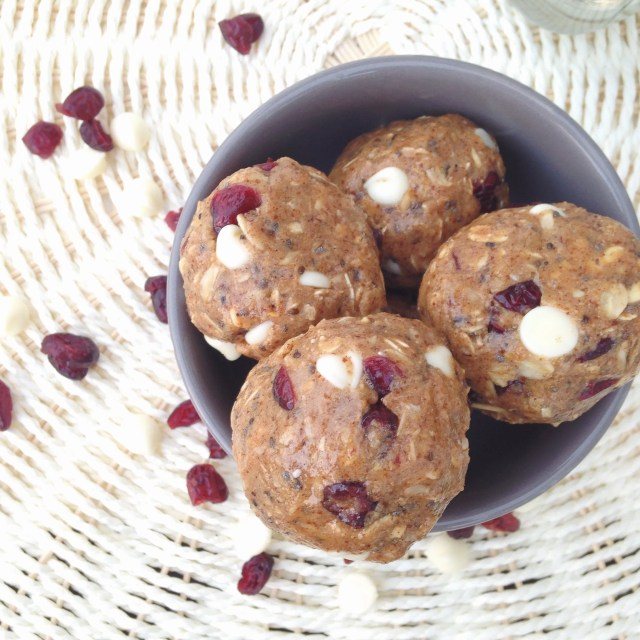 White Chocolate Cranberry Protein Bites