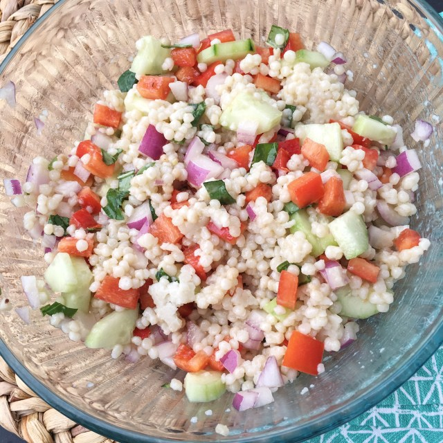 Greek Couscous Salad with Basil Vinaigrette