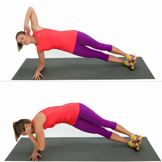 Elbow plank with twist