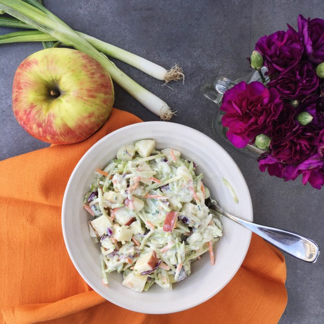 Broccoli Slaw with Apples and Greek Yogurt Dressing