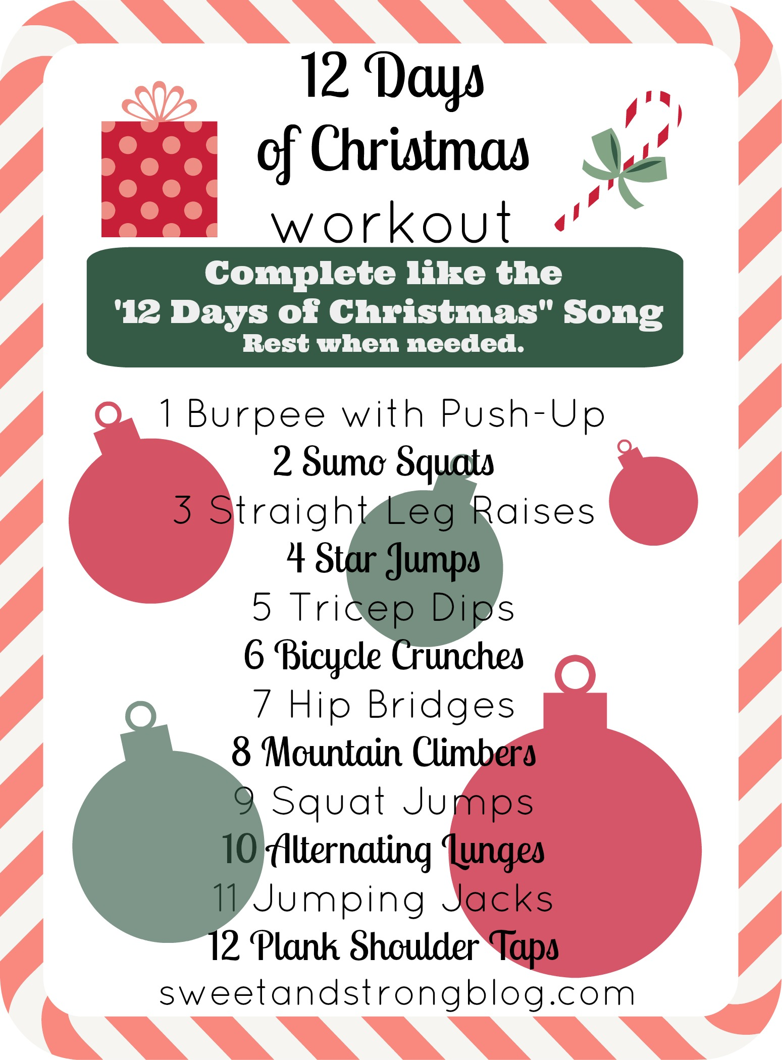 12 Days Of Christmas No Equipment Necessary Total Body Workout Work On Your Arms