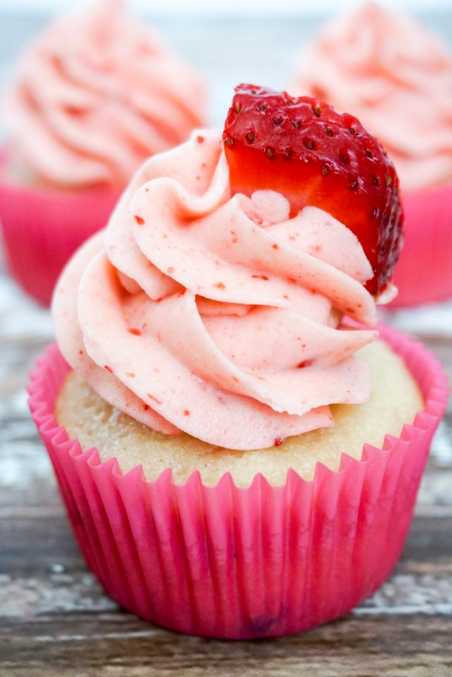 Strawberry cupcakes with creamy strawberry buttercream