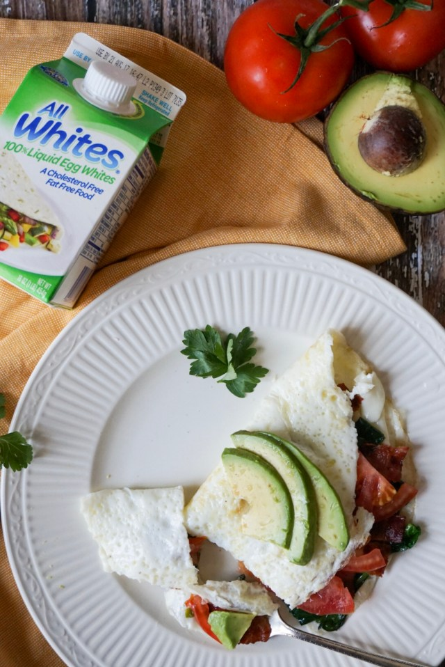 B.L.A.T. Bacon, lettuce, avocado, tomato Egg White Omelet with All Whites liquid egg whites.
