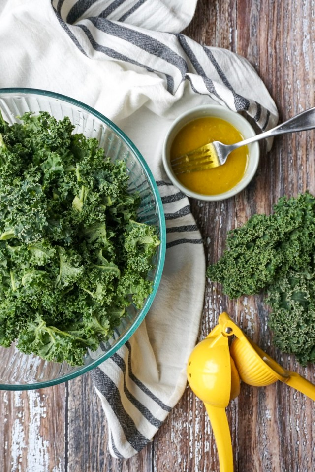 Massaged Kale Salad with lemon, olive oil, and sea salt