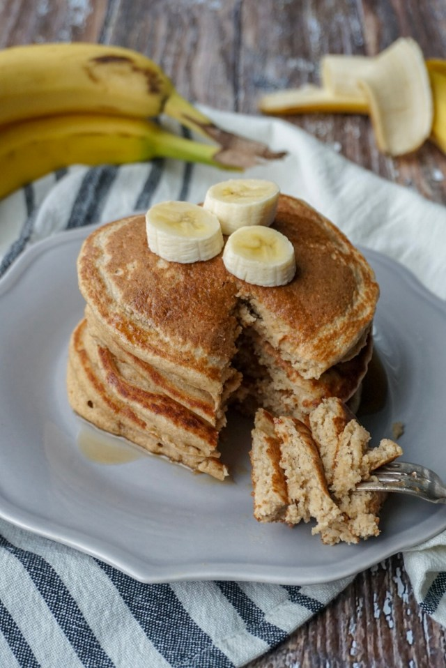 Stack of Banana Oatmeal Blender Pancakes