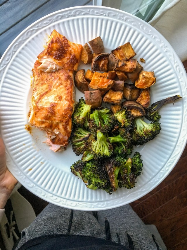 Salmon with Roasted Vegetables, Food and Fitness Week in Review
