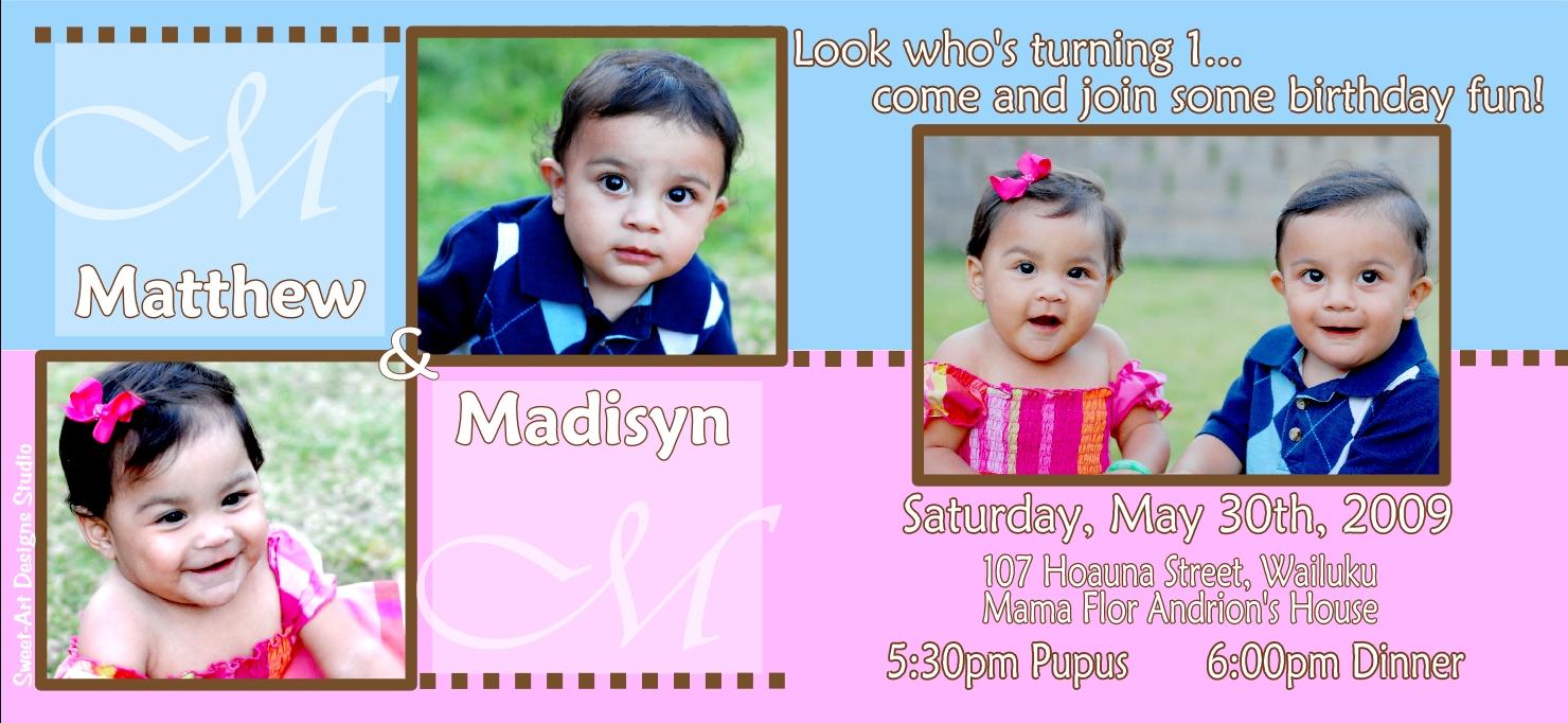 twins first birthday invitation m
