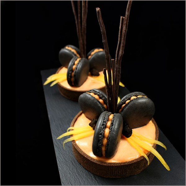 Persimmon Tarts with Black Macarons