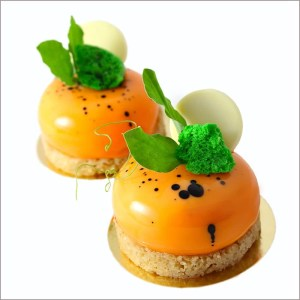 Carrot and Orange Mousse Dessert with Cream Cheese and Almond Joconde