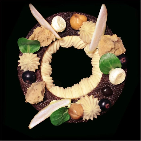Chocolate Choux Pastry with Hazelnut Whipped Ganache, Apple Compote, Chocolate Sable and Hazelnut Sponge ~ Paris Brest Grunge