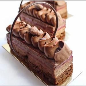 Bergamot Dates and Milk Chocolate Ginger Mousse with Raspberry Pâte de Fruit Chocolate Desserts on Walnut Brownie Base Recipe ~ L'Amant Desserts