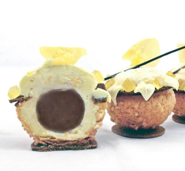 Crispy Choux Puffs with Mascarpone Orange Ganache, Lemon Jelly, Chocolate Crémeux and Chocolate Sable ~ Petite Phalaenopsis Profiteroles