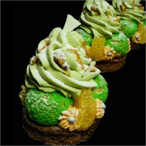 Crispy Choux Puffs with Pistachio Mascarpone Chantilly on Chocolate Sablé Breton with Pistachio Mousseline and Orange Caramel ~ Holiday Choux Tartelettes