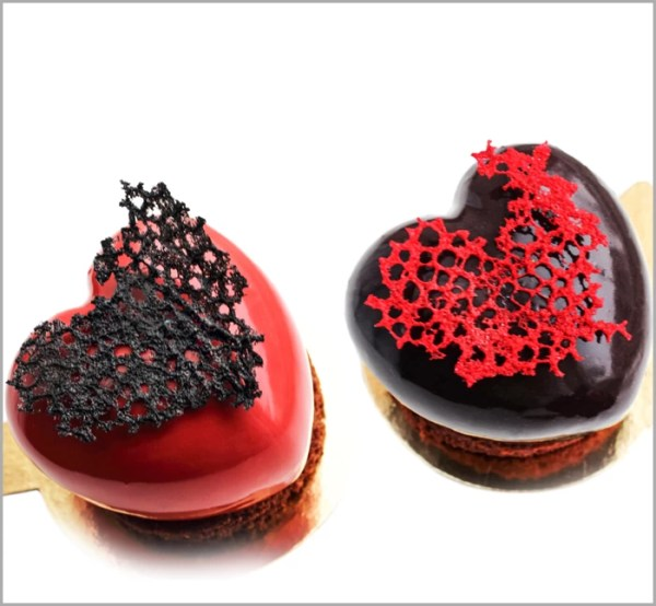 Melting Heart Desserts ~ Raspberry Mousse with Chocolate Heart on Fancy Chocolate Brownie