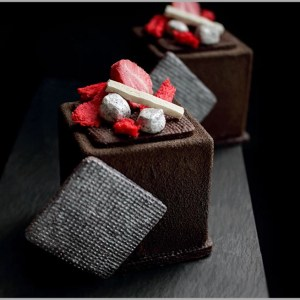 Chocolate Mousse with Red Fruit Rose Mousse and White Chocolate Ganache on Chocolate Hazelnut Sable ~ Gypsy Desserts
