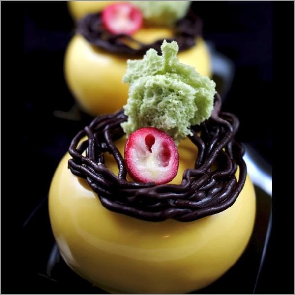 Orange Mango Crémeux with Berry Mousse on Pistachio Base ~ La Alegria Dessert
