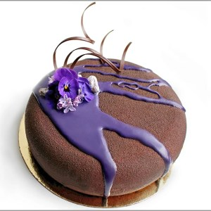 White Chocolate, Dark Chocolate and Lavender Mousse on Chocolate Brownie ~ Los Sentimientos Cake