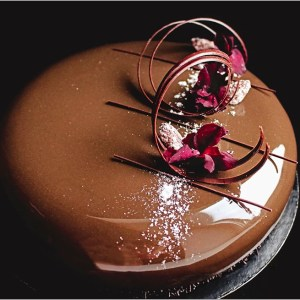 Chocolate Mousse, Pomegranate Mousseline and Milk Chocolate Crunch on Chocolate Brownie ~ La Mystique Cake Recipe