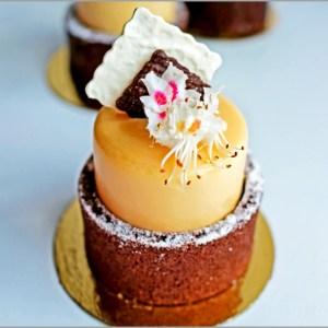 Mango Mousse with Chestnut Chantilly on Chocolate Sponge Base ~ Dame Dentelle Desserts