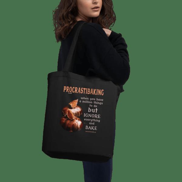 Procrastibaking Quote Black Eco Tote Bag with Gloria Dessert