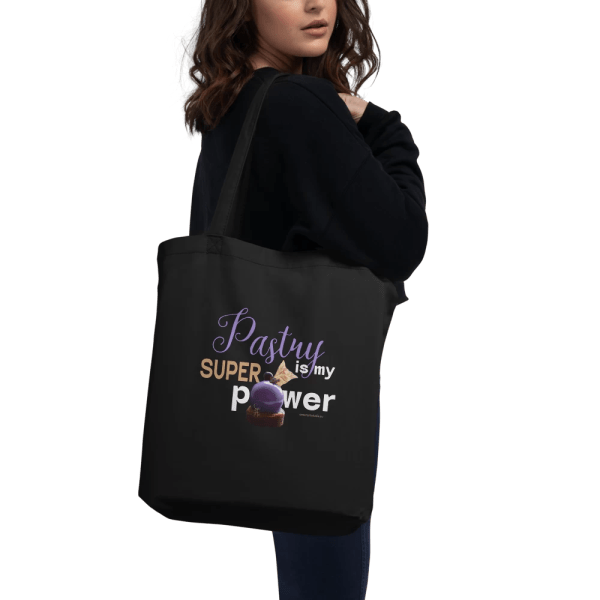 Pastry is my Superpower Black Eco Tote Bag with Zinfandel Dessert