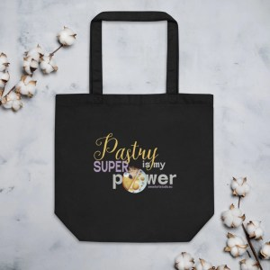 Pastry is my Superpower Black Eco Friendly Tote Bag with Mango Orange Tart