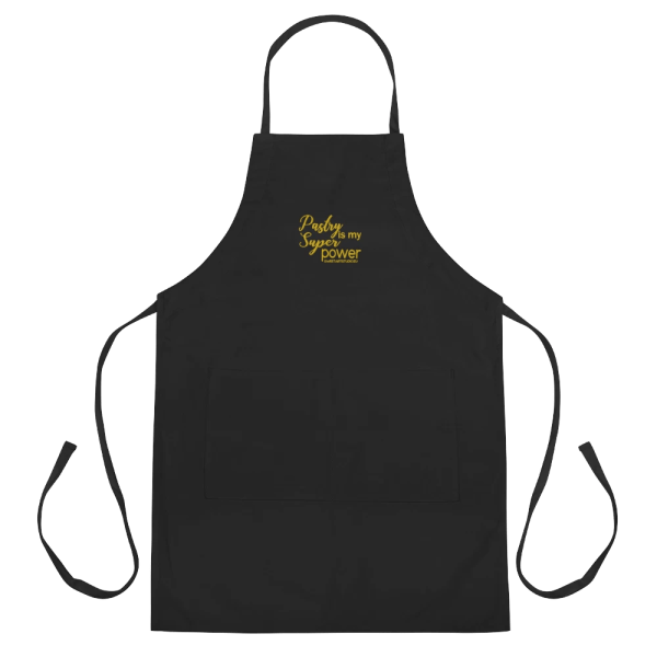 Pastry is my Superpower Black Embroidered Apron