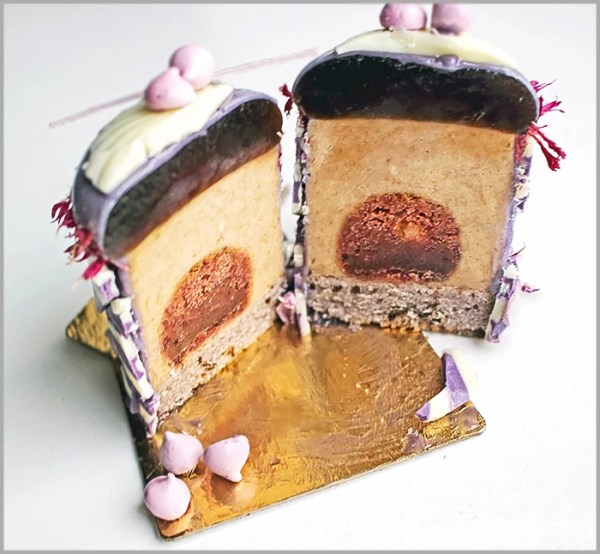 Plum Mousse with Cherry Pâte de Fruit and Meringues on Plum Financier ~ The Merveilland Desserts Recipe