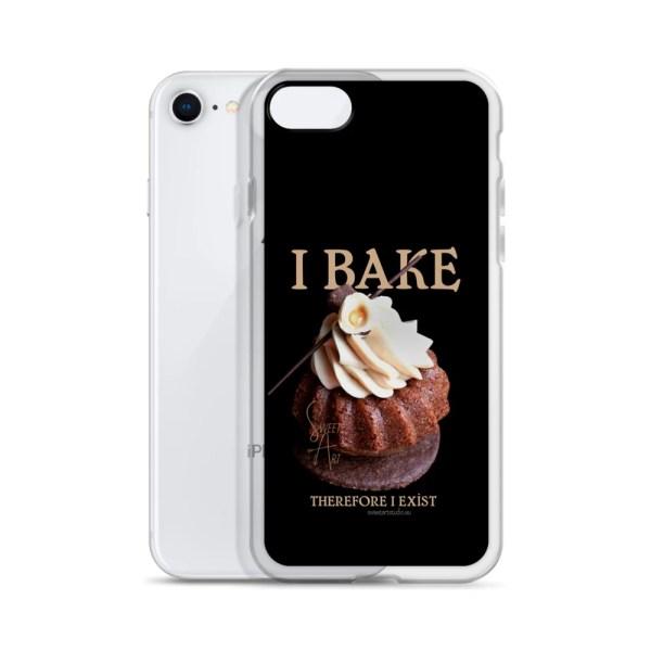 I Bake Therefore I Exist Black iPhone Case with Hazelnut Cupcake