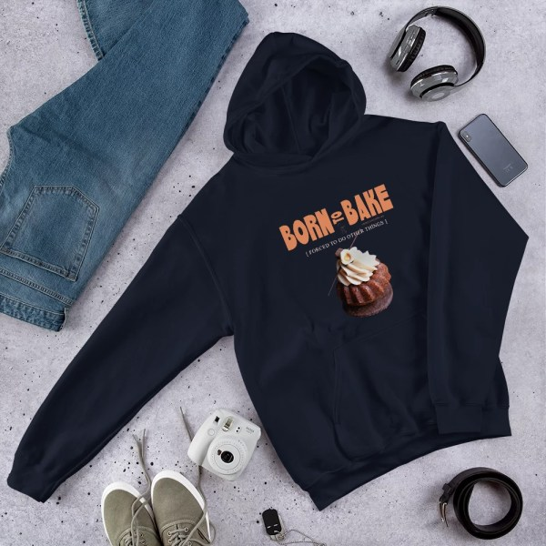 Born To Bake Unisex Hoodie with Hazelnut Cupcake