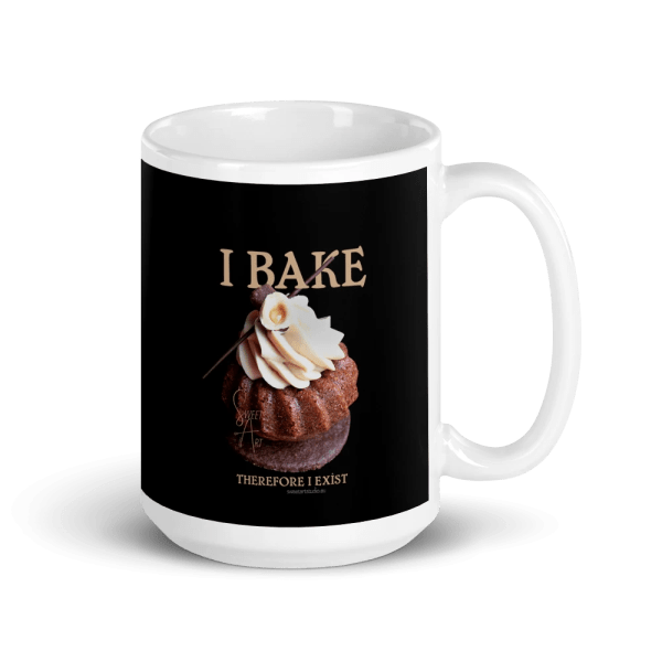 I Bake Therefore I Exist White and Black Glossy Ceramic Mug with Hazelnut Cupcake
