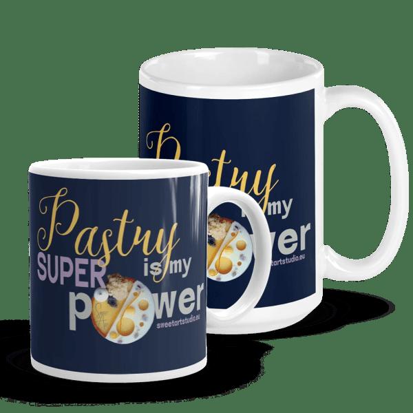 Pastry is my Superpower White and Navy Glossy Pastry Art Mug with Mango Orange Tart