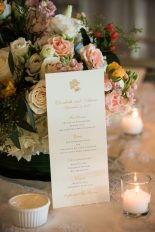 Centerpieces of peach and white