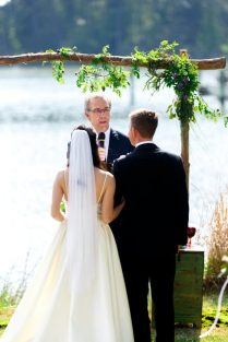 All greens and whites for this riverside May wedding - Photo credit: Adams Photography
