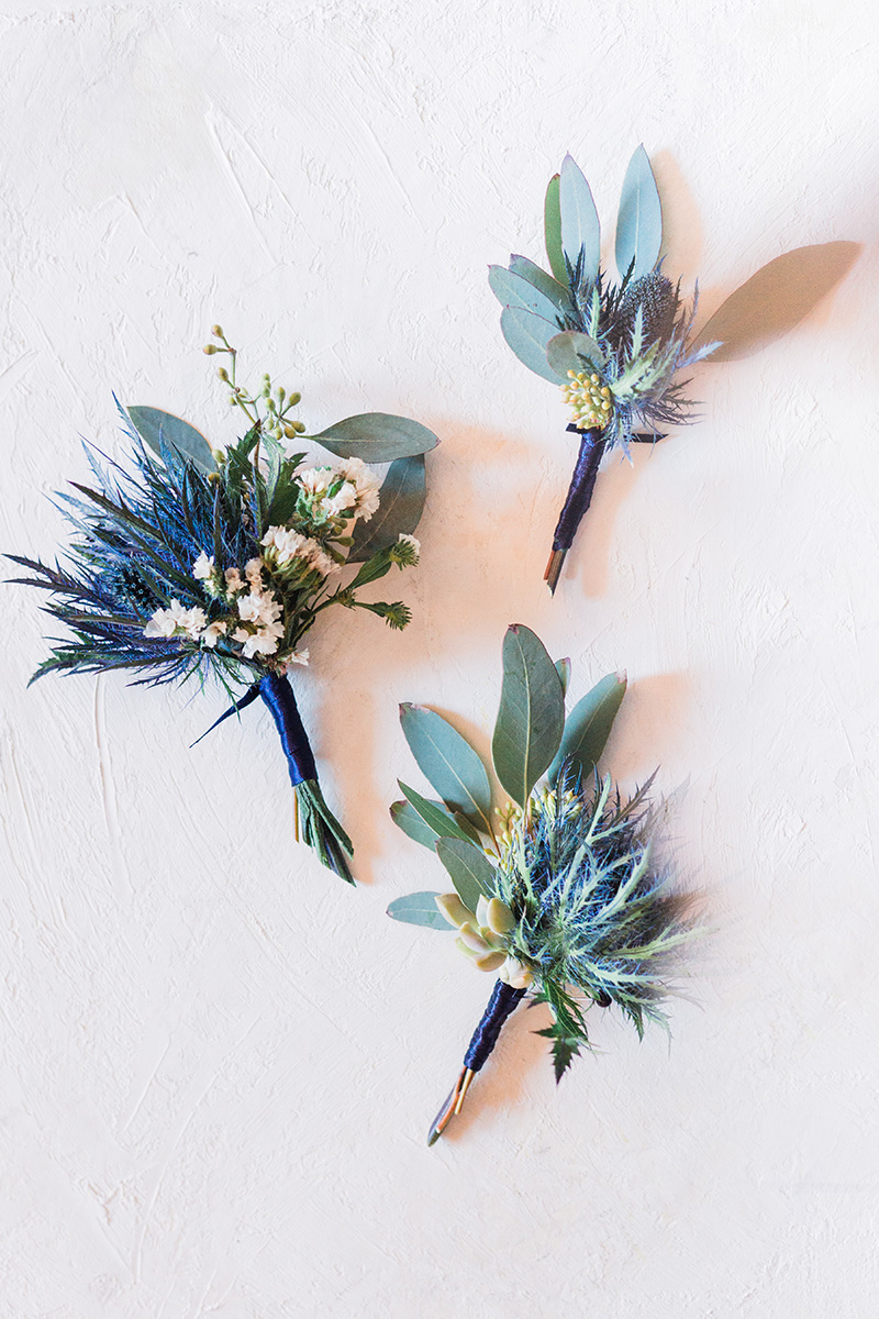Unique Purple and Green Boutonnières for Groomsman by Sweetbay Flowers | Eastern Shore Florist|