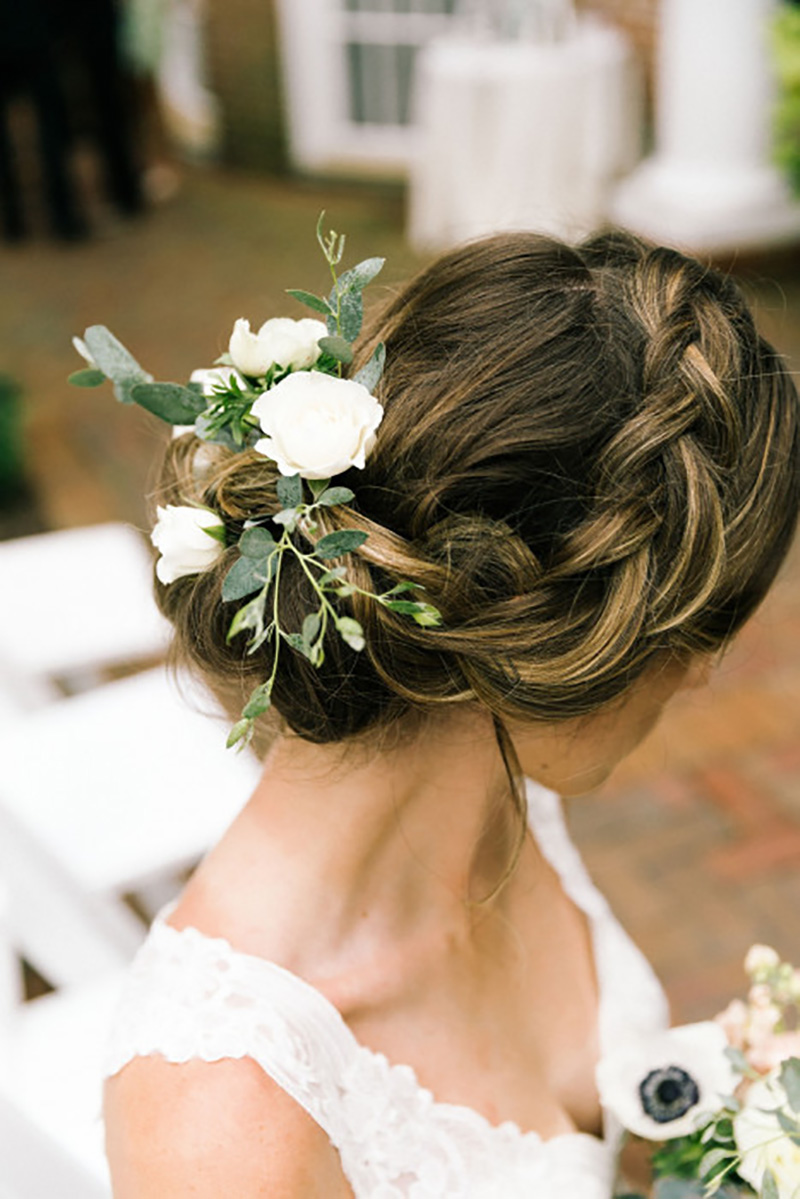 Floral Hairpiece for Bride by Sweetbay Flowers | Eastern Shore Florist