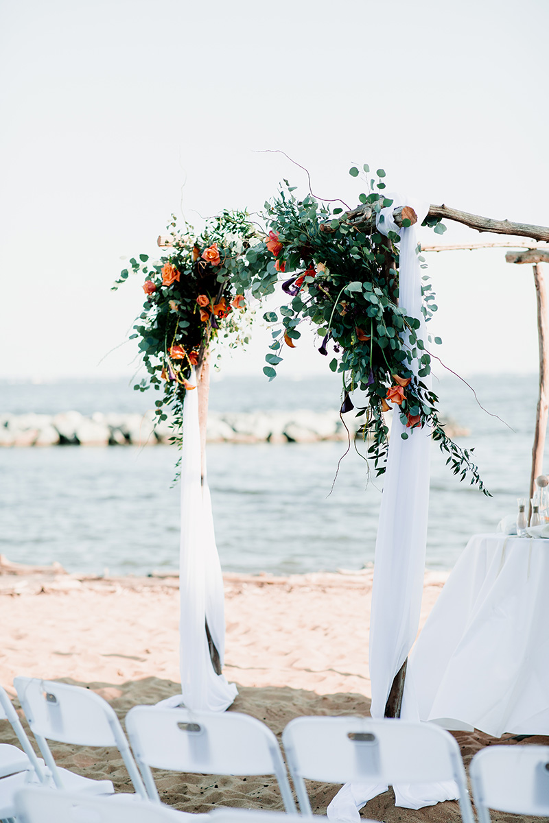 Floral Arch for Beach Wedding by Sweetbay Flowers | Eastern Shore Florist