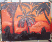 The Hawaii sunset painting that I created in April of 2009.