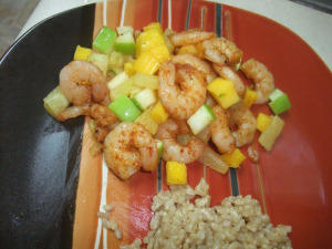 Chili Shrimp with Fruit Relish