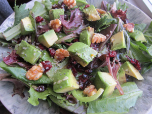 Cranberry Avocado Salad with White Balsamic Dressing